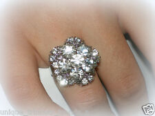 CLEAR CRYSTAL FLOWER AWARENESS RIBBON SILVER RING~ADJUSTABLE SIZE 7/8/9~GIFT BAG