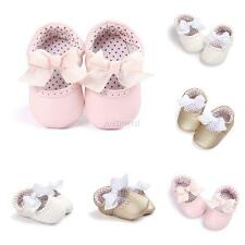 Princess Toddler Baby Girls Bow Shoes Infant Soft PU Casual First Crib Shoes