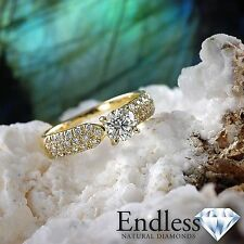 Engagement Ring Size 7.5 Pave Diamond 1.26 CT SI/G-H 14k Yellow Gold Enhanced
