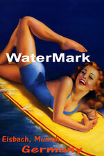 SURF EISBACH MUNICH GERMANY GIRL WATER BOARD SURFING TRAVEL VINTAGE POSTER REPRO