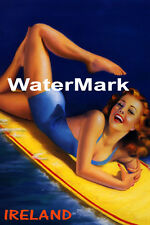 SURF IRELAND BEACH GIRL WATER BOARD SURFING FUN TRAVEL VINTAGE POSTER REPRO