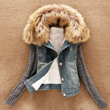 Hot Winter Warm Womens Denim Trench Coat Hooded Outerwear Faux Fur Collar Jacket