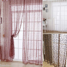 1PC BD Floral Printed Sheer Panel Voile Drape Tab Top Window Curtain Balcony