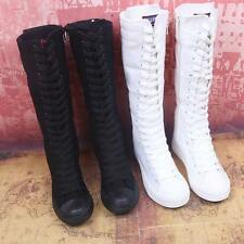 Womens Canvas Lace Up Knee High Boots Sneakers Flat Casual Tall Punk Shoes