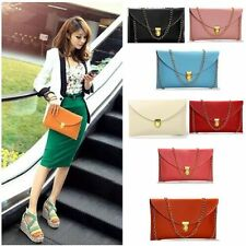 New Womens Pu Leather Chain Envelope Clutch Tote Handbag Shoulder Bag Purse  AC