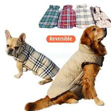 Pet Dog Reversible Plaid Soft Padded Jacket Coat Winter Warm Clothes Vest Brown