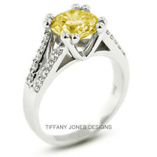 1.02ct tw Yellow-SI2 Exc Round Natural Diamond 14k Pave Engagement Ring 5.49gr