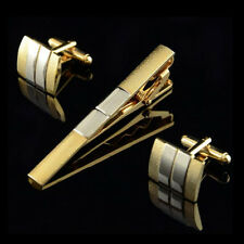 Cool Classical Stripe Golden Square Wedding Party Cufflinks Cuff Links&Tie Clip
