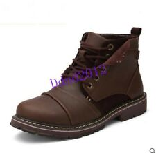 Mens Fashion lace up Leather desert military Work chukka ankle Boots Shoes