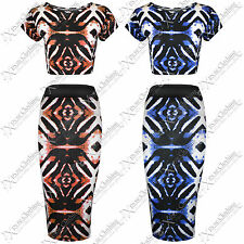 WOMENS LADIES BODYCON AZTEC TIE DYE PRINT PENCIL SKIRT CROP TOP SUIT TOPS SKIRTS