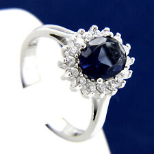 New Womens Engagement Wedding Sapphire CZ 925 Sterling Silver Ring