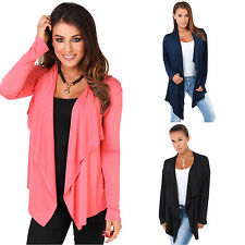 Women Long Sleeve Open Front Cardigan Waterfall Collarless Coat Solid Jacket Top