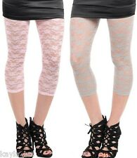 Pink or Gray Lace Footless Capri Leggings OS~Juniors