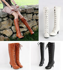 New Womens Fashion PU Leather Lace Up High Heel Platform Knee High Boots Shoes