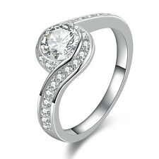 1.3CT Round Cut White CZ 10k White Gold Plated Wedding Engagement Ring Size 6-9