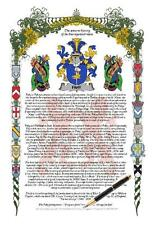 Your Family Coat of Arms and History Manuscript Scroll - BUCK to BURY