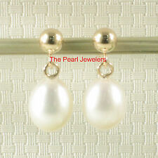 Raindrop White Cultured Pearl Dangle Stud Earrings; 14k Yellow Solid Gold TPJ