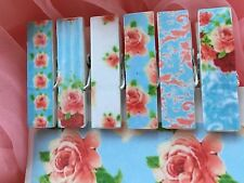 6 Shabby Chic Decoupage Floral Roses Clothespins Magnets Optional Blue Pink Red