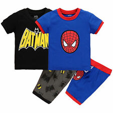 Cosplay Superhero Spider-man Batman Kids Baby Boys T-shirt+Shorts Pant Outfits