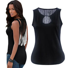 Womens Plunge V Neck Sexy Open Back Gradients Tassel Vest Tops T-shirt Blouse