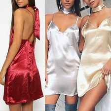 Sexy Womens Spaghetti Strap Backless Satin Dresses Deep V Nightclub Mini Dress