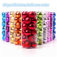 24x Christmas Tree Xmas Ball Hanging Ornament Decor Glitter Bauble Party 40 60mm