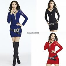 New Women Lace V-neck Long Sleeve Party Clubwear Cocktail Slim Mini Dress ED