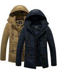 New Winter Mens Padded Coat Hooded Down Cotton Thick Warm Jacket Parka winter