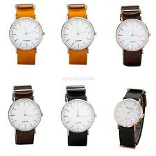Fashion Unisex Men Women Leather Stainless Steel Casual Quartz Wrist Watches