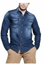 Mens Jack South BLAST Denim Shirt Unique Sun-Faded Look REDUCED FOR QUICK SALE