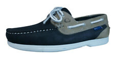 Quayside Bermuda Womens Leather Suede Deck / Boat Shoes - Navy Sand - See Sizes