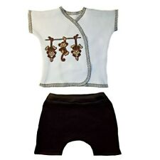 Unisex Baby Monkeying Around Shirt and Shorts Set 3 Preemie and Newborn Sizes