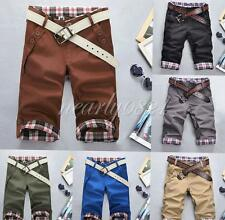 Fashion Mens Summer Casual Shorts Pants Plaid Lattice Flanging Cropped Trousers