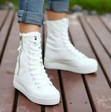 New Fashion Womens Canvas platform High top sneakers shoes Heels ankle shoes