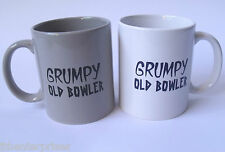 Grumpy Old Bowler Coffee Cup Black OR White Lawn Bowls Novelty Great Gift Idea
