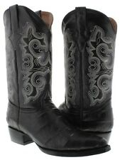 mens black crocodile alligator big belly exotic western cowboy boots leather