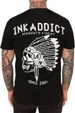 INK ADDICT CHIEF BLACK COLLECTION DESIGN INKED ART  T SHIRT MEN'S TEE TATTOO