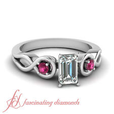 .60 Ct Emerald Cut E-Color Diamond & Pink Sapphire Womens Gold Engagement Ring