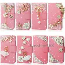 Magnetic Bling Crystal Diamonds PU leather flip wallet book case skin cover
