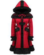 Punk Rave Dolly Coat Red Black Fur Lace Trim Hooded Goth Lolita Winter Jacket