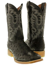 mens leather ostrich quill cowboy boots western crocodile square black exotic