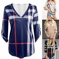 Women's Plaid Blouse Casual Long Sleeve V Neck Loose Check T-shirt Tunic Tops