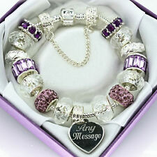 Lilac Clear ENGRAVED Charm Bracelet ANY MESSAGE Beads Personalised Birthday Gift