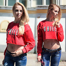 New Womens Lady Long Sleeve Sexy Sweatershirt Sweater Crop Top Coat Jumper Tops