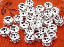 Wholesale 50X Rhinestone 8mm Silver plated Spacer Beads-gp95 Free shipping