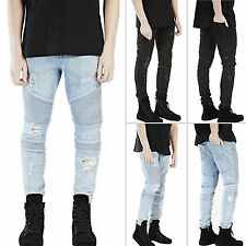 Retro Men Casual Stretch Skinny Slim Fit Ripped Denim Jeans Biker Pants Trousers
