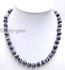Charming! Big 10mm Black zebra stripe Round agate beads necklace -nec5611