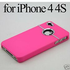 Hard Back Rubber Coated Case Cover with W/Chrome Hole for Apple iPhone 4 4G 4S