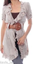 Beige Short Sleeve Ruffled/Belted Tunic Cover-Up S/M/L