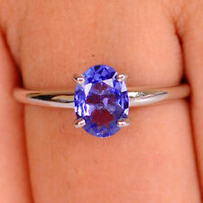 2.40Ct Oval Cut 100% Natural Blue Tanzanite Solid 925 Sterling Silver Ring